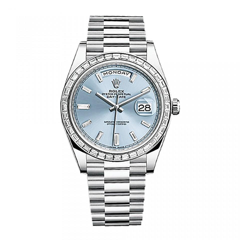 Rolex Platinum Day-date 228396 Tbr 40 Factory Ice Blue Baguette Dial Bezel